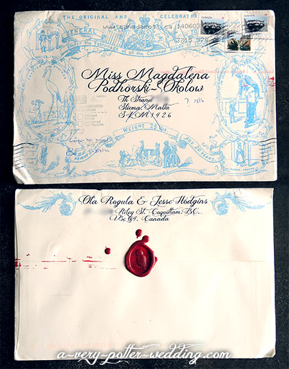 envelope design front and back