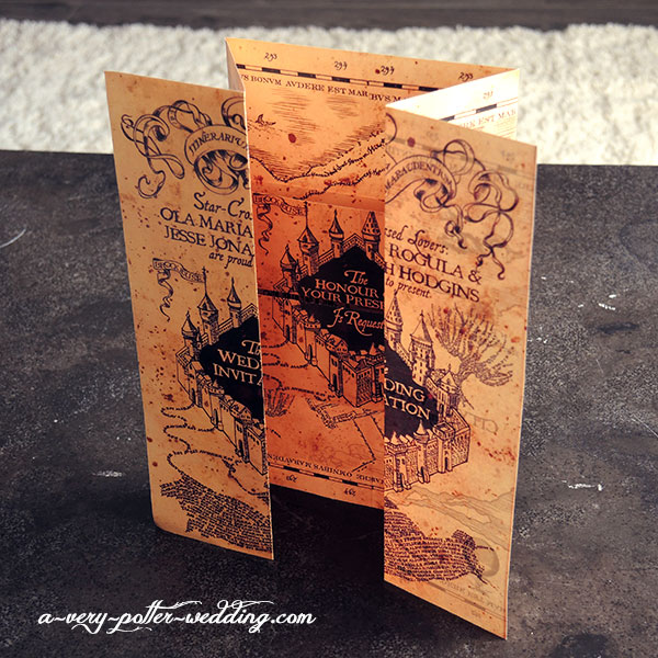marauders map invitation in full - Harry Potter Wedding Invitations