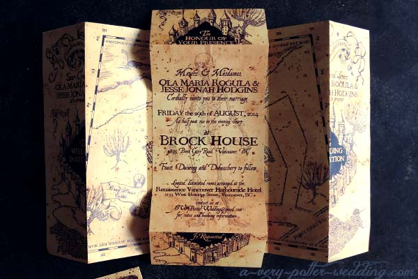 center of invitation describing the wedding details - Harry Potter Wedding Invitations